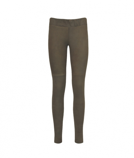COVERED ELASTIC  BROWN SUEDE LEGGINGS one view