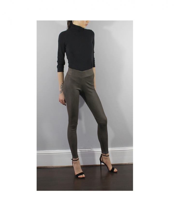 COVERED ELASTIC  BROWN SUEDE LEGGINGS three view