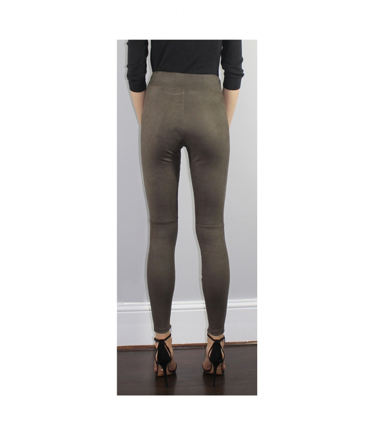 COVERED ELASTIC  BROWN SUEDE LEGGINGS four view