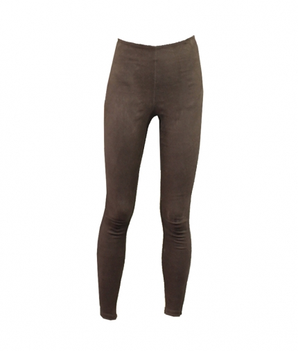 HIGH WAIST LEGGINGS IN BROWN SUEDE one view