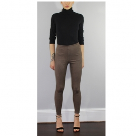 HIGH WAIST LEGGINGS IN BROWN SUEDE two view
