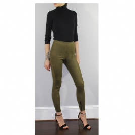 HIGH WAIST SUEDE OLIVA three view