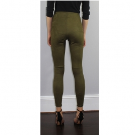 HIGH WAIST SUEDE OLIVA four view