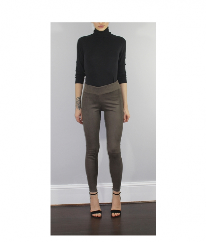 COVERED ELASTIC  BROWN SUEDE LEGGINGS two view