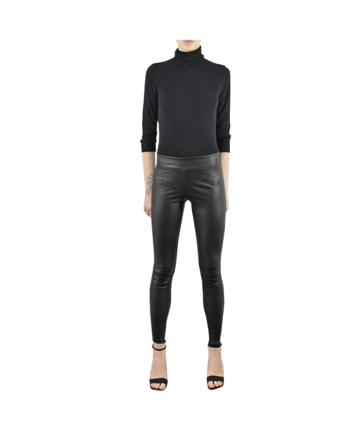 LOLA COVERED ELASTIC LEATHER LEGGINGS - BLACK two view