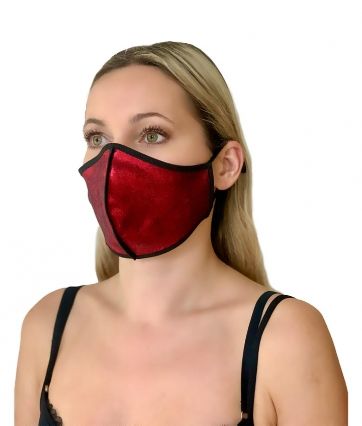SUEDE FACE MASK- RED SHINE two view