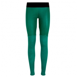 TRAFORATED LEATHER LEGGINGS -  GREEN