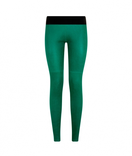 ELVIRA LEATHER PANT- GREEN one view
