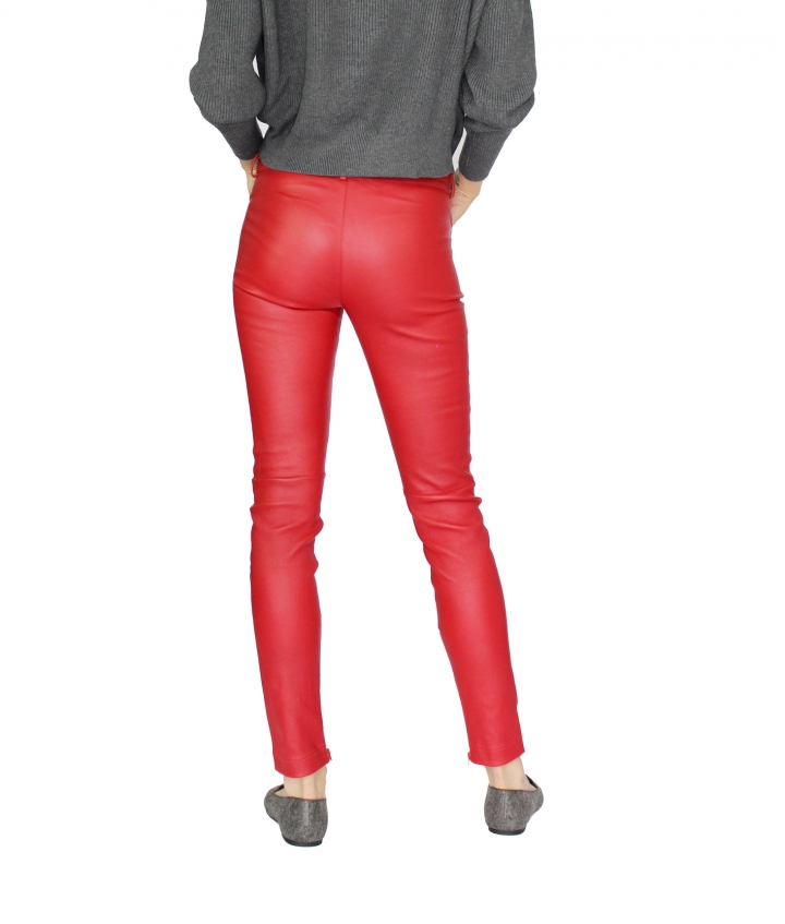 ZOE LEATHER PANT - RED six view