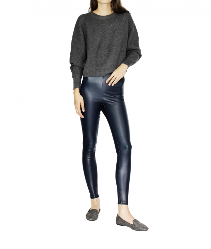 HALLE LEATHER LEGGINGS - NAVY BLUE two view