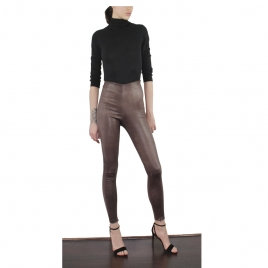 HIGH WAIST BROWN WORN LEA WITH SEAM two view