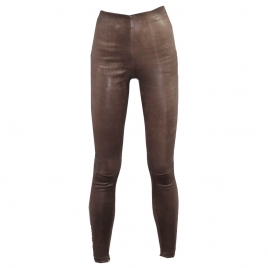 HIGH WAIST LEATHER PANT - BROWN WORN