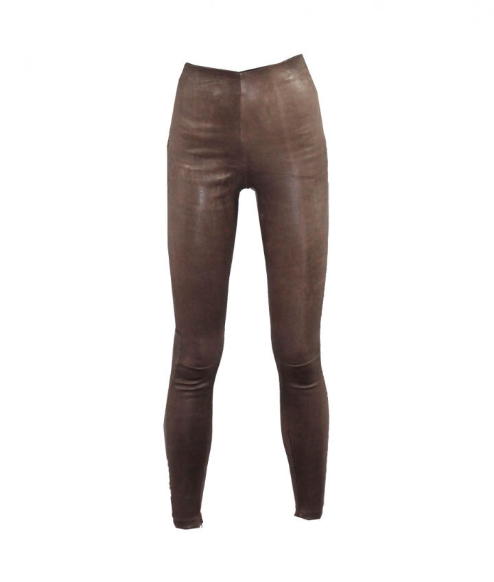 HIGH WAIST BROWN WORN LEA WITH SEAM one view