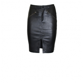 SELINA LEATHER SKIRT - BLACK