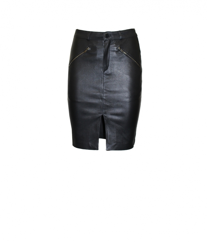 SELINA LEATHER SKIRT - BLACK one view