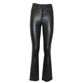 DONNA FLARED LEATHER PANTS - BLACK