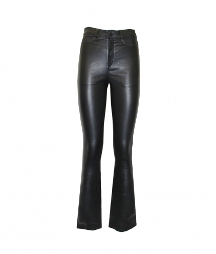 DONNA FLARED LEATHER PANTS - BLACK one view