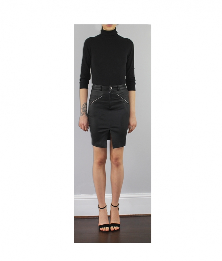 SELINA LEATHER SKIRT two view