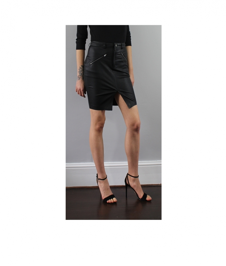 SELINA LEATHER SKIRT three view