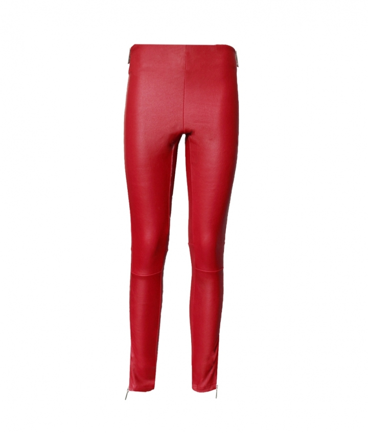TINA RED LEATHER LEGGINGS two view