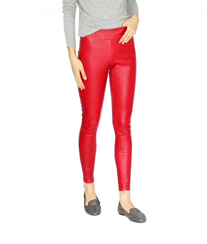 COVERED ELASTIC RED LEA LEGGING two view