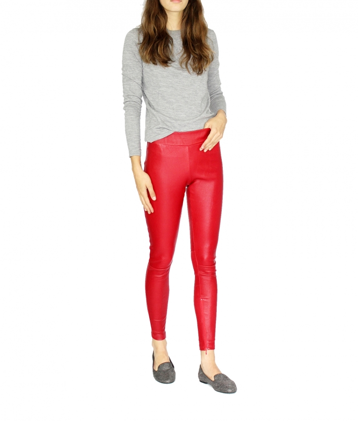 COVERED ELASTIC RED LEA LEGGING three view