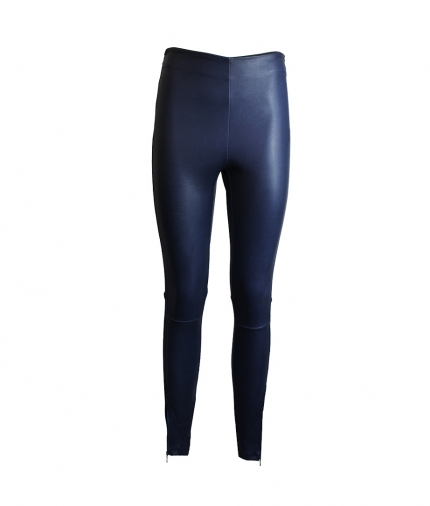 HALLE LEATHER LEGGINGS - NAVY BLUE one view