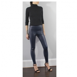 HIGH WAIST NAVY STRETCH LEATHER LEGGINGS two view