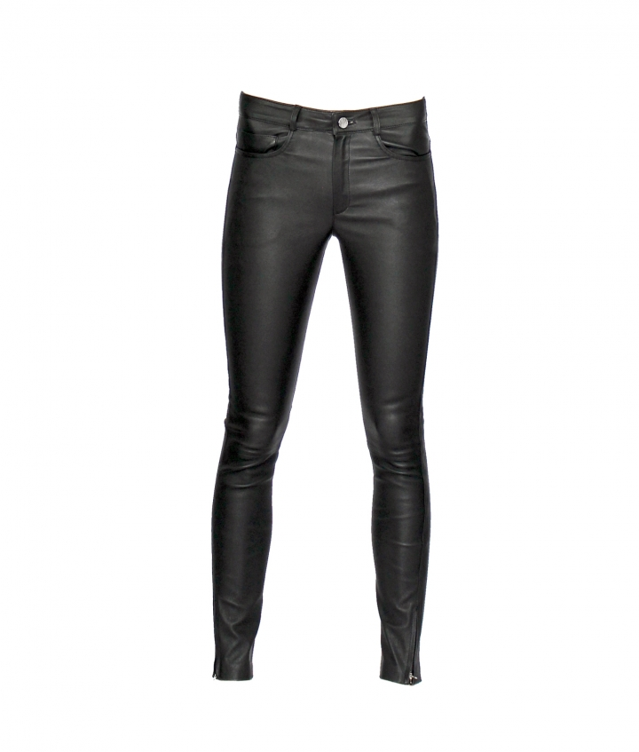PARIS ENGINEER LEATHER PANT - BLACK two view