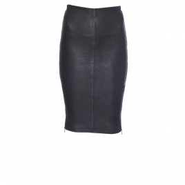 IVY ZIP LEATHER SKIRT - NAVY