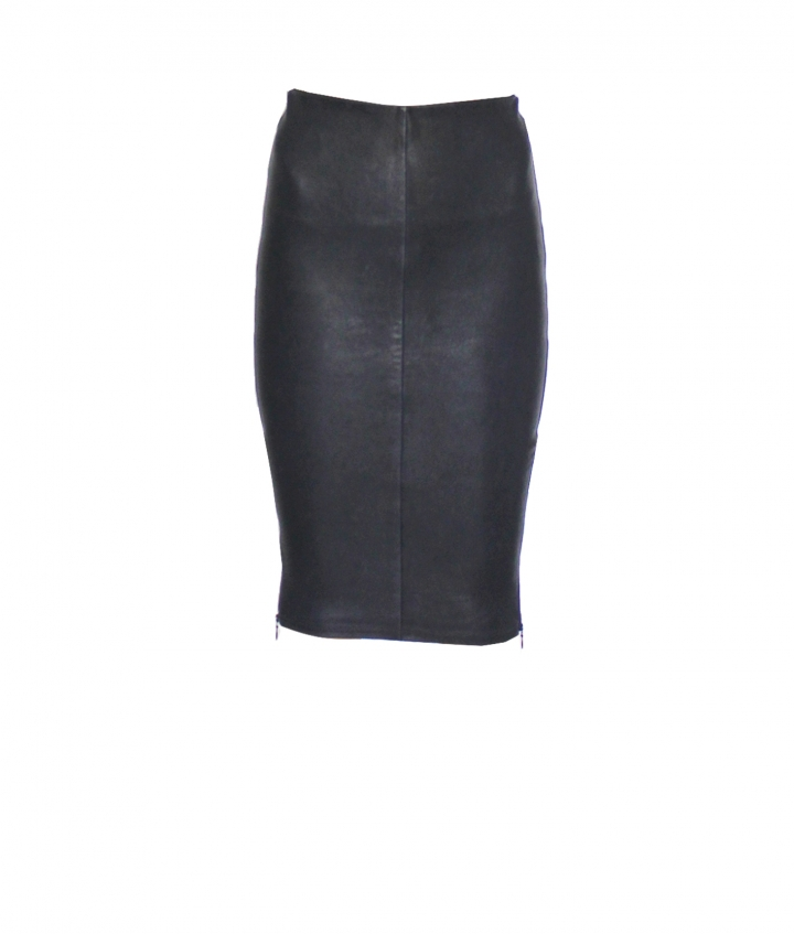 IVY ZIP LEATHER SKIRT - NAVY one view
