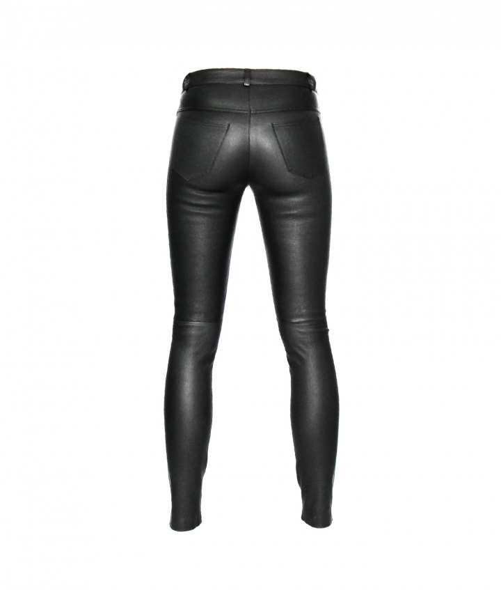 PARIS ENGINEER LEATHER PANT - BLACK four view