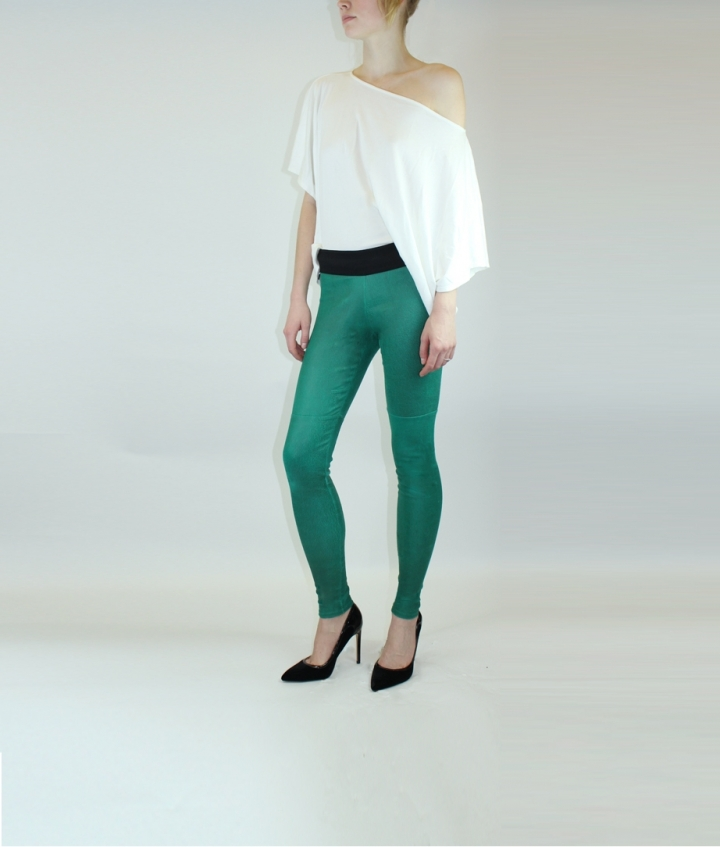 ELVIRA LEATHER PANT- GREEN two view