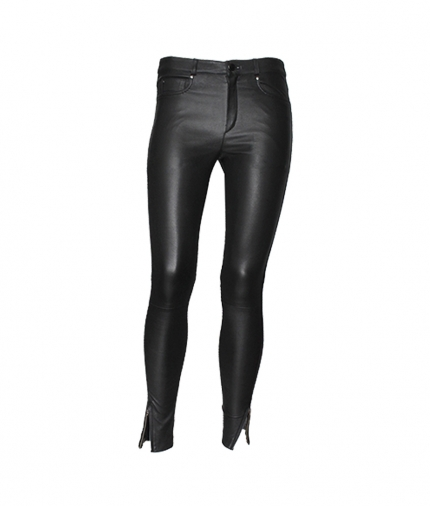 PARIS ENGINEER LEATHER PANT - BLACK one view