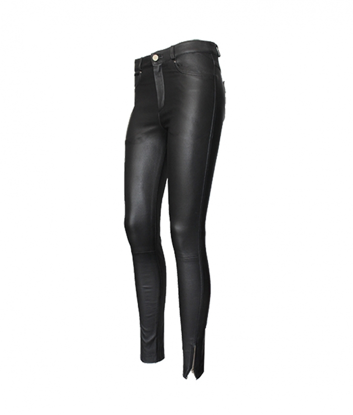 PARIS ENGINEER LEATHER PANT - BLACK three view