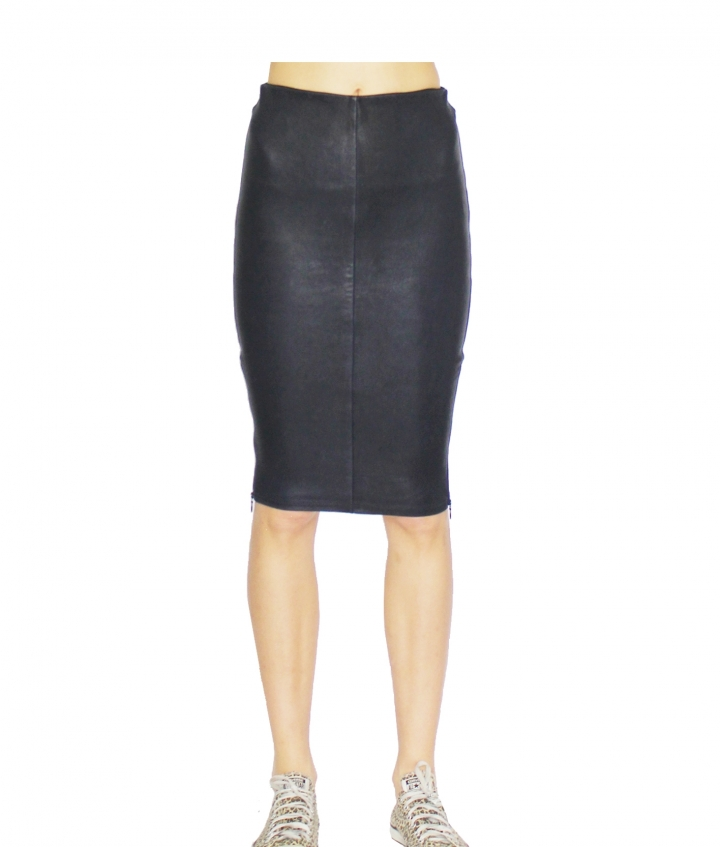 IVY ZIP LEATHER SKIRT - NAVY four view