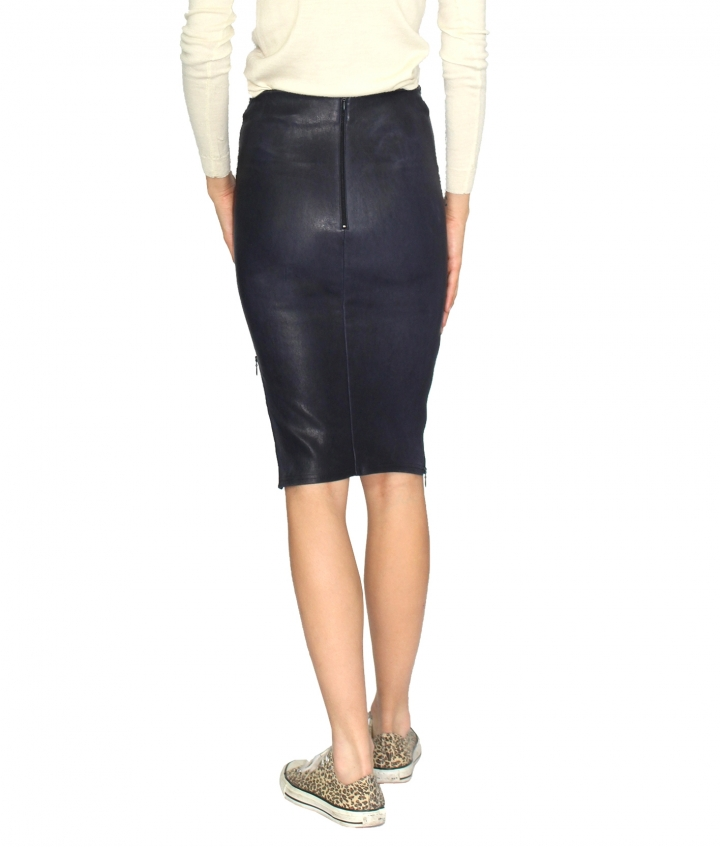 IVY ZIP LEATHER SKIRT - NAVY three view