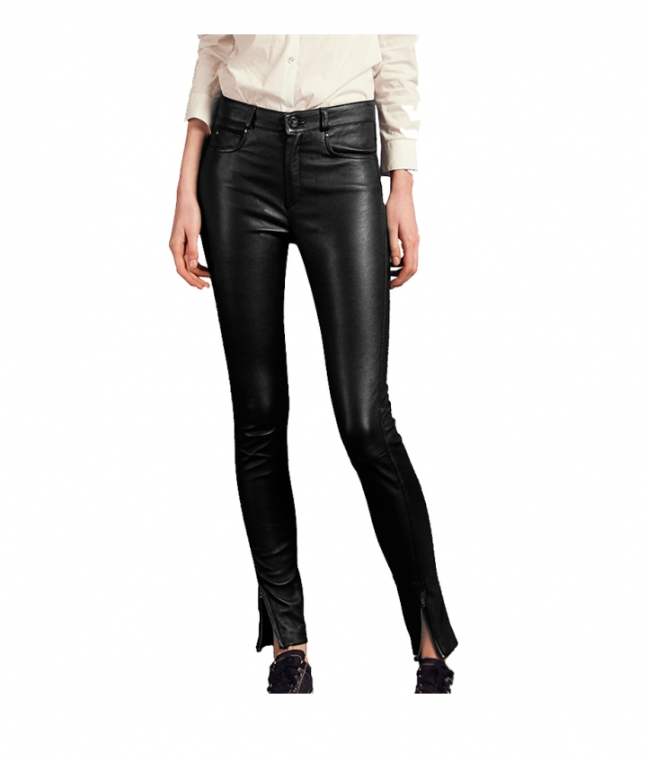 PARIS ENGINEER LEATHER PANT - BLACK nine view