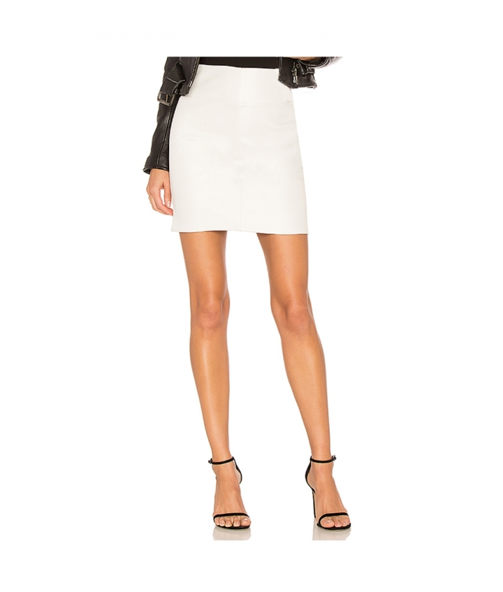 CHER LEATHER MINI SKIRT - WHITE two view