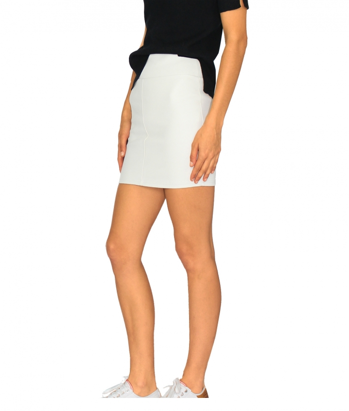 CHER LEATHER MINI SKIRT - WHITE three view
