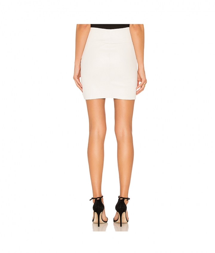 CHER LEATHER MINI SKIRT - WHITE four view
