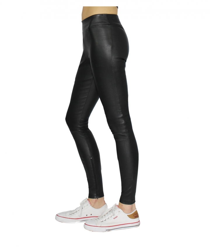 LOLA COVERED ELASTIC LEATHER LEGGINGS - BLACK four view