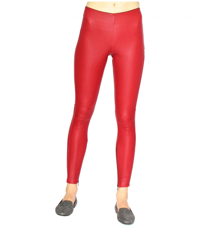 HALLE HIGH WAIST RED LEATHER LEGGINGS two view