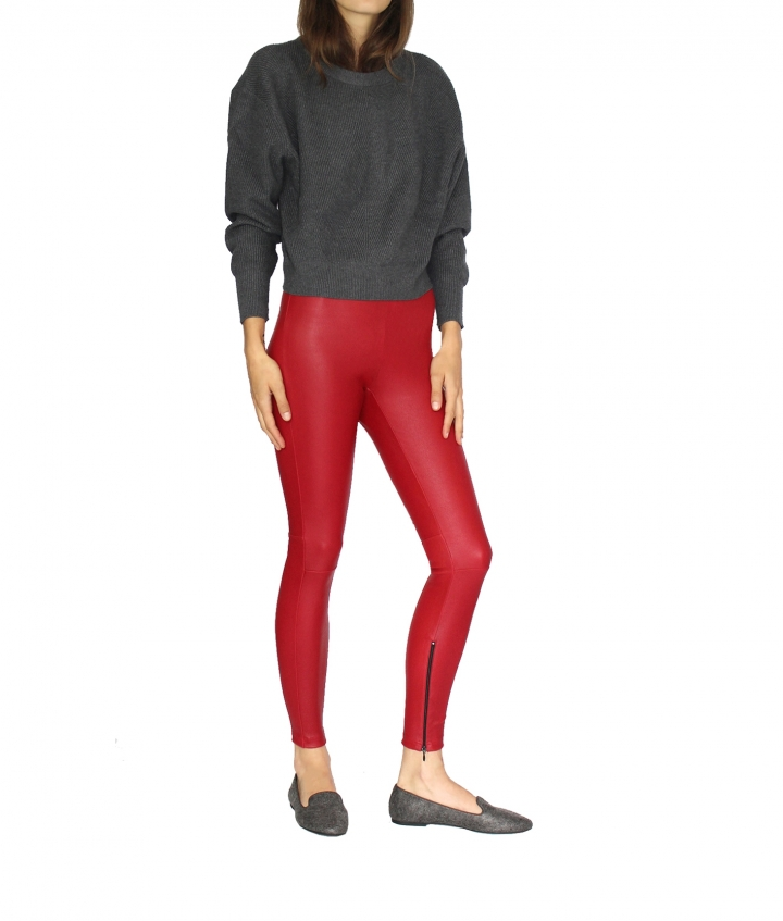 HALLE HIGH WAIST RED LEATHER LEGGINGS four view