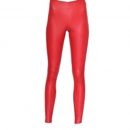 HALLE HIGH WAIST RED LEATHER LEGGINGS