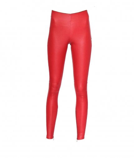 HALLE HIGH WAIST RED LEATHER LEGGINGS one view