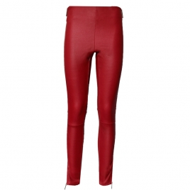 TINA RED LEATHER LEGGINGS