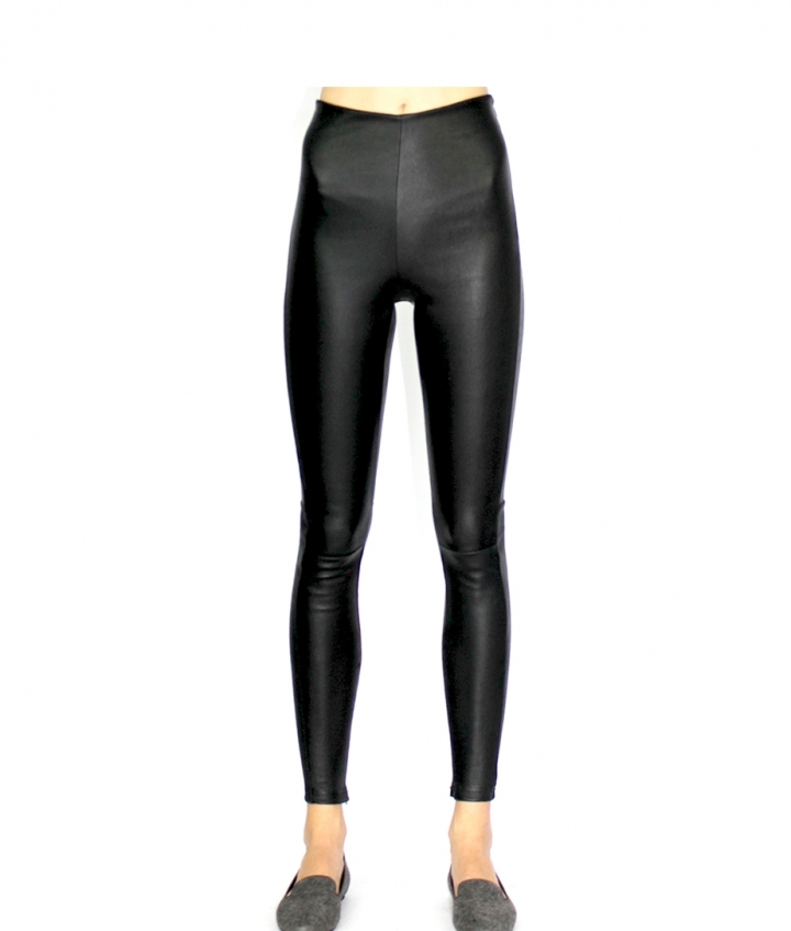 HALLE HIGH LEATHER LEGGINGS- BLACK three view