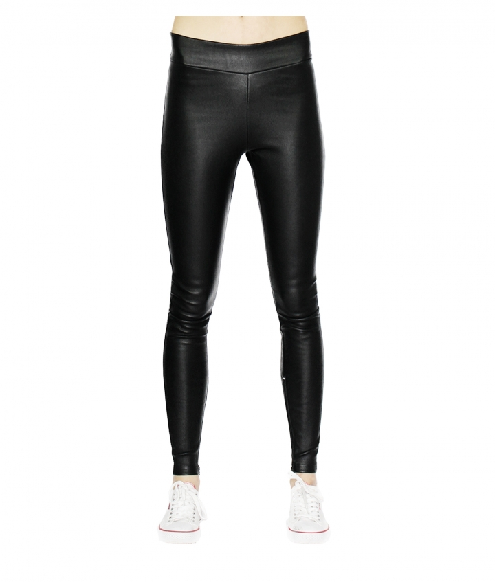 LOLA COVERED ELASTIC LEATHER LEGGINGS - BLACK three view