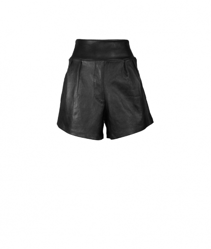 Lotty Black Leather Shorts one view